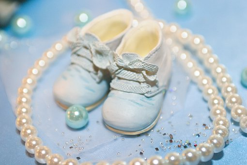 Baby Shoes, Cyan Light Blue, Pearl Of Great Price