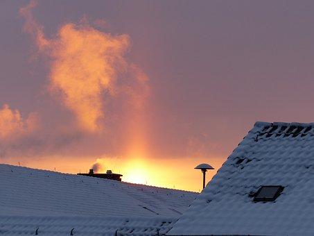 Smoke, Chimney, Fireplace, Winter, Heat, Sunbeam, Up