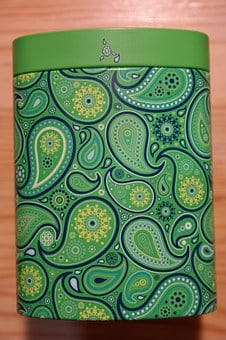 Tea Caddy, Box, Colorful, Color, Green, Pattern