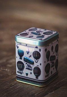 Tee, Box, Metal Box, Tea Caddy, Balloon, Storage