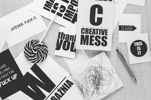 Typography, Sentence, Black, White, Black And White