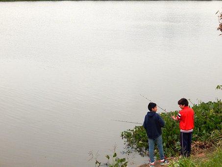 Boys, Fishing, Child, Fishery, Rio, Paraguay, Landscape