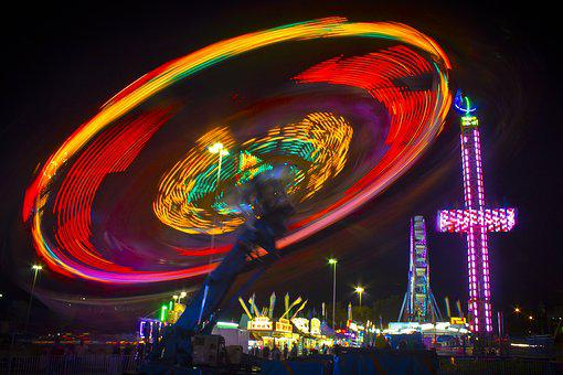 Carnival, Ride, Neon, Colors, Motion, Fair, Spinning