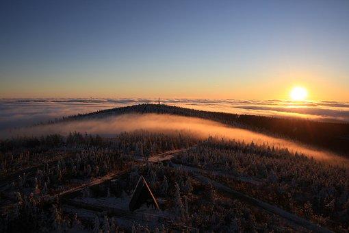 Fog, Bohemian Fog, Sunrise, Fichtelberg, Winter