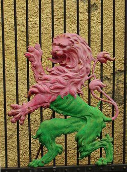 Grid, Goal, Heraldic Animal, Lion, Bi Color