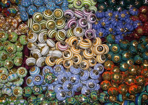 Buttons, Knobs, Porcelain, Colorful, Color, Mixed, Mess