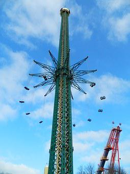 Carousel, Highest, 139 Meters, Prater, Tower, Chain
