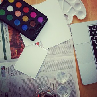 Watercolors, Newspaper, Painting, Mess, Watercolour
