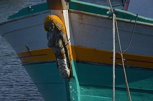 Mermaid, Bow, Ship, Woman, Brittany, Marine, Boat
