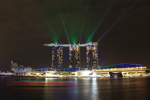 Marina Bay Sands, Lights, Singapore, Laser, Design