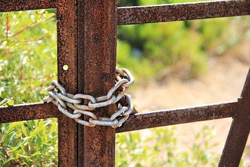 Castle, Closed, Chain, Stainless, Metal, Close, Burglar