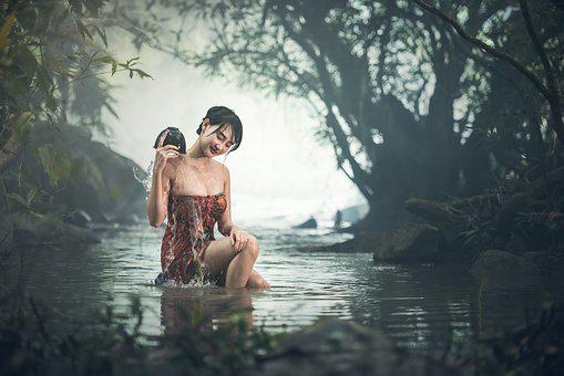 The Bath, Bare, Young, Beauliful, Sexy, Wet, River