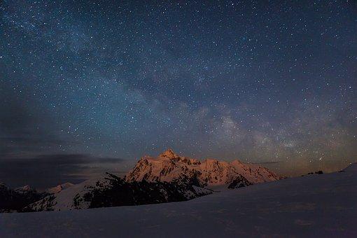 Stars, Night, Mountains, Winter, Snow, Cold, Dusk, Sky