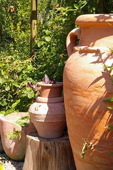 Mediterranean, Amphora, Garden, Garden Design