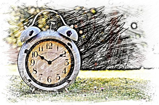 Clock, Drawing, Colorful, Time Of, Time, Clock Face