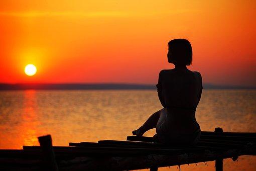 Girl, Water, Dawn, Summer, Outdoors