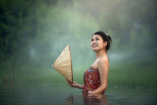 Bathtub, Bare, Young, Beauliful, River, Asia, Cambodia
