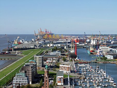 Bremerhaven, View, New Port, Container Terminal, Ships