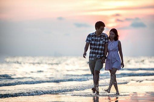 Romance, Pair, Sunset, Together, Beach, Holding