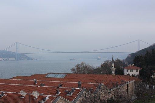 Bridge, Fatih Sultan Mehmet, Roofs, Bosphorus, Istanbul