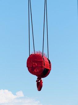 Crane, Chain Hoist, Hook, Red, Baukran, Load Lifter