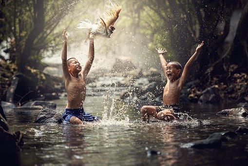 Children, River, Birds, Joy, Splash, Water, Boy