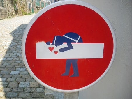 Sign, No Entry, Gendarme, Love, Street Art