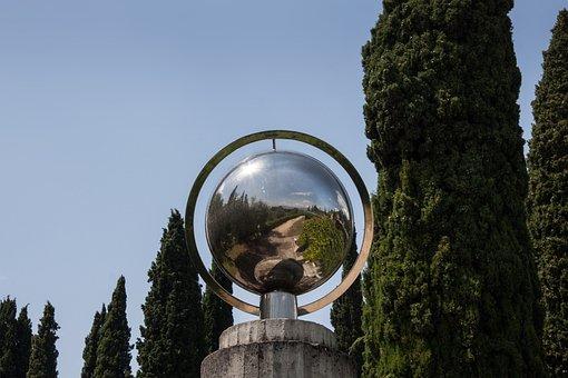 Ball, Steel, Mirroring, Sky, Blue, Sun, Landscape