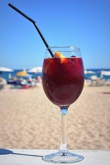 Sangria, Wine, Straw, Drink, Alcohol, Sea, Beach