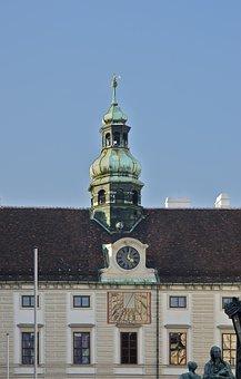 Amalienburg, Clocktower, Sundial, Hofburg, Palace