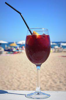 Sangria, Wine, Straw, Drink, Alcohol, Sea, Beach