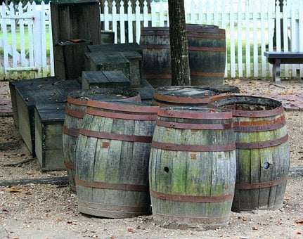 Barrels, Cylindrical, Boxes, Casks, Wooden, Old, Rusty