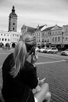 Afternoon, Czech Budejovice, Square, Black Tower
