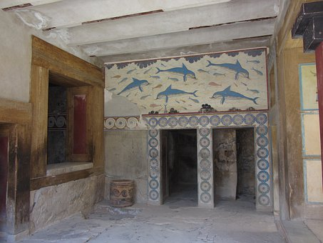 Fresco, Dolphins, Palace Of Knossos, Minoans