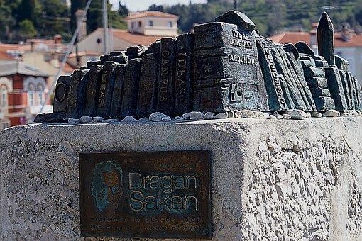 Monument, Pedestal, Dragan Sakan, Book, Writer