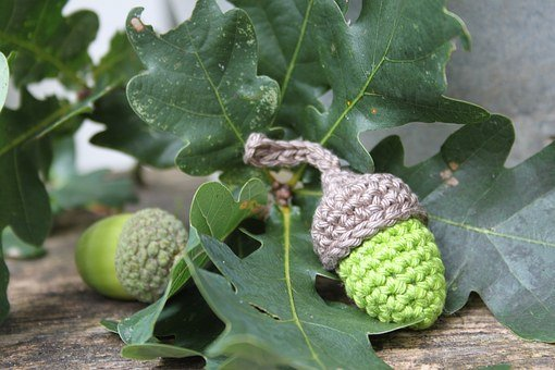 Acorn Hooks, Crochet, Diy, Crochet Acorns, Leaves