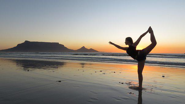 Yoga, Girl, Beach, Sunset, Summer, Vacation, Female