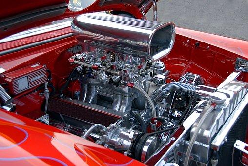 Car Engine, Customized, Shiny, Chrome, Engine