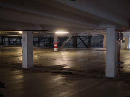 Multi Storey Car Park, At Night, Empty, Dark, Weird