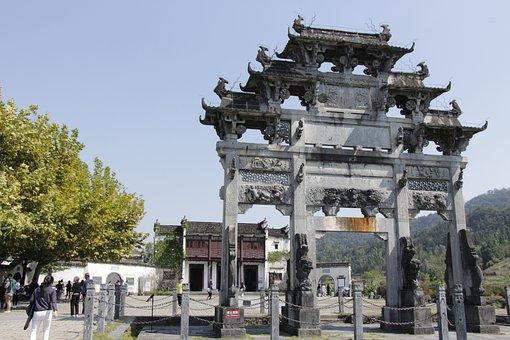 Entrance, Anhui, Xidi, Arch, Xi'an, Style, Klunky