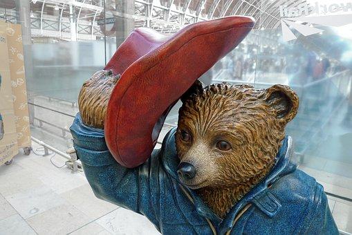 Paddington, Bear, Station, Statue, Likeness, Look