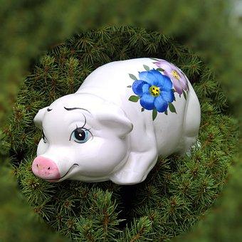 Pig, Lucky Pig, Luck, Ceramic, Piggy Bank, Funny