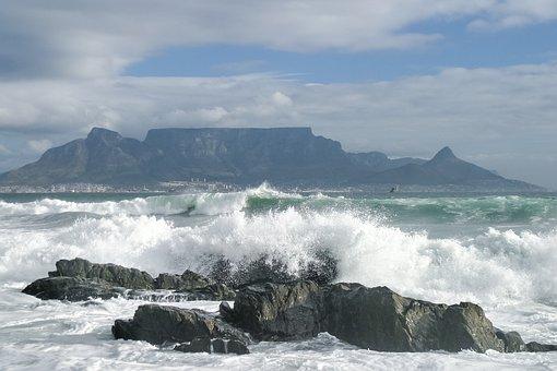 Table Mountain, Ocean, Sky, Cape Town, Bay, Rock, Wave