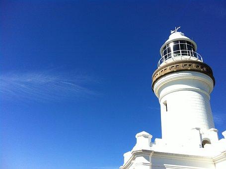 Lighthouse, Sky, Blue, White, Cloud, Sea, Seaside