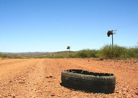 Tyre, Burst, Karoo, Flat, Road, Rubber, Car, Vehicle