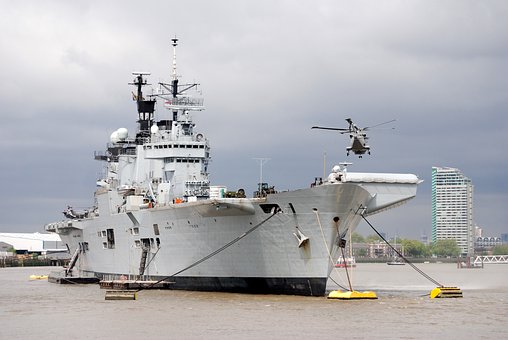 Aircraft Carrier, Helicopter, River Thames, Aircraft