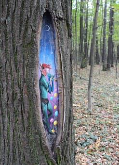 Elf, Tree, Hollow, Flute, Forest, Autumn, Story, Magic