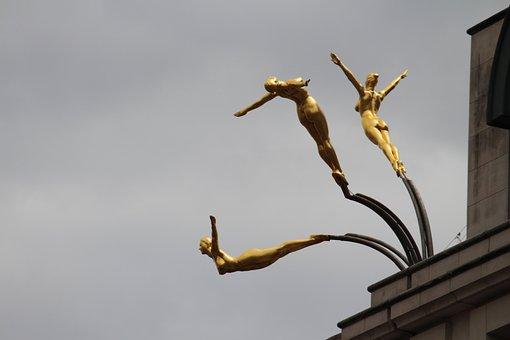 Three Graces, Bronze, Statue, Diving, Females