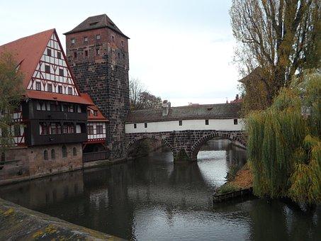 Nuremberg, Old Town, Pegnitz, Bridge, Autumn, Tower
