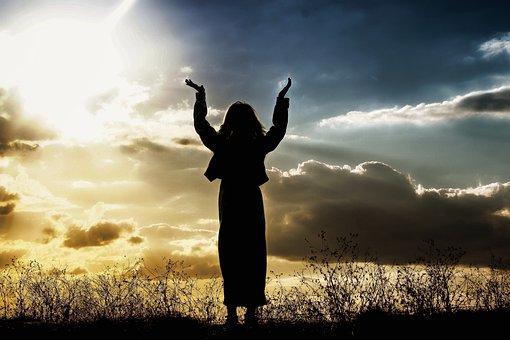 Woman, Praying, Believing, God, Person, Sunset, Praise